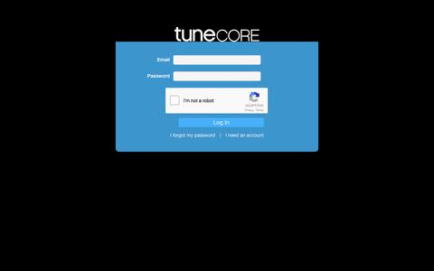 Screenshot of Login Page tunecore.com - Artist Login - Check Your Earnings & Stats | TuneCore - captured April 18, 2018