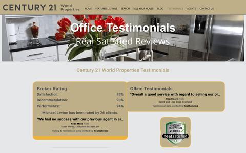 Screenshot of Testimonials Page century21wp.com - Century 21 World Properties Testimonials - Verified by Real Satisfied - captured Sept. 27, 2018