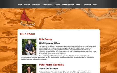 Screenshot of Team Page capeyorknrm.com.au - Our Team - Cape York Natural Resource Management - captured Oct. 1, 2014