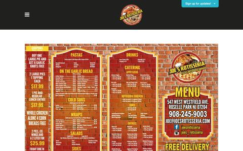 Screenshot of Menu Page joes-rotisseria.com - Full Menu | Family Pizzeria and Pizza Delivery | Joe's Rotisseria | Roselle Park, NJ - Joe's Rotisseria - captured March 23, 2016