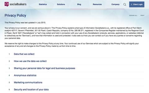 Screenshot of Privacy Page socialbakers.com - Privacy Policy | Socialbakers - captured July 26, 2016