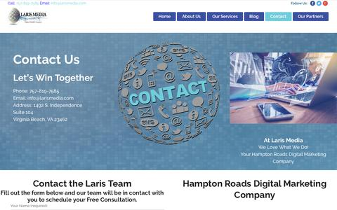 Screenshot of Contact Page larismedia.com - Contact Us | Laris Media A Hampton Roads Digital Marketing Company - captured Sept. 27, 2018