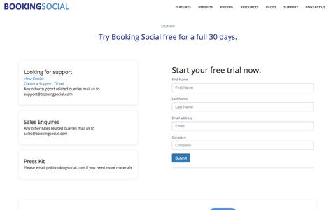 Screenshot of Signup Page Trial Page bookingsocial.com - Professional service automation app | Booking social - captured Aug. 3, 2018