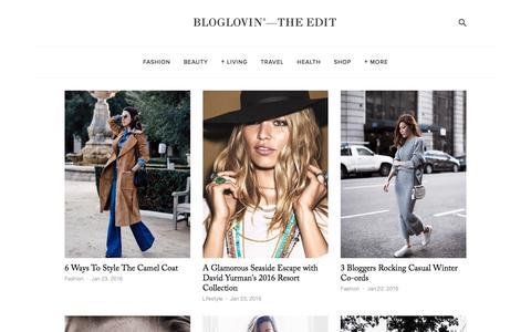 Screenshot of Blog bloglovin.com - Bloglovin'—the Edit - captured Jan. 23, 2016