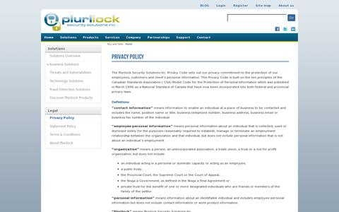 Screenshot of Privacy Page plurilock.com - Privacy Policy | Plurilock - captured July 19, 2014