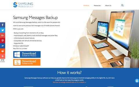 Screenshot of Home Page samsung-messages-backup.com - Samsung Messages Backup - Best Android Data Manager Software You Can't Miss - captured Sept. 22, 2018