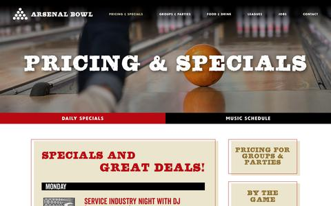 Screenshot of Pricing Page arsenalbowl.com - Arsenal Bowl: Pricing & specials - captured July 2, 2018