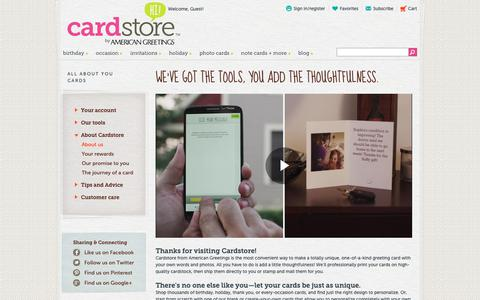 Screenshot of About Page cardstore.com - All About You | Cardstore - captured Sept. 27, 2018
