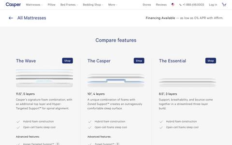 Screenshot of Pricing Page casper.com - Compare Casper mattresses | Hybrid foam mattresses for the best sleep. | Casper® - captured Nov. 17, 2018