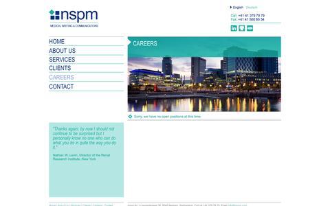 Screenshot of Jobs Page nspm.com - nspm.ltd - Medical Writing & Communications - captured Oct. 26, 2014