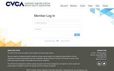 Screenshot of Login Page cvca.ca - Log In : Canadian Venture Capital and Private Equity Association - captured July 10, 2017