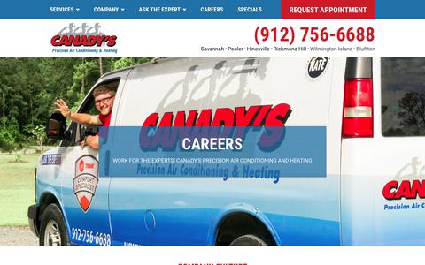 Screenshot of Jobs Page canadys.com - HVAC Careers | Canady's Precision Air Conditioning & Heating - captured Sept. 26, 2018
