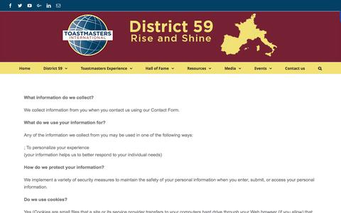Screenshot of Privacy Page district59.org - Privacy Policy - DISTRICT 59 - Toastmasters International - captured Feb. 17, 2016