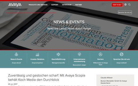 Screenshot of Press Page avaya.com - Pressemeldung: Zuverlässig und gestochen scharf:  Mit Avaya Scopia behält Koch Media den Durchblick - captured May 3, 2018
