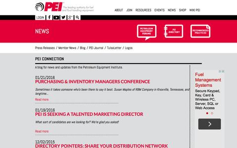 Screenshot of Blog pei.org - PEI Connection   Petroleum Equipment Institute - captured Jan. 27, 2016