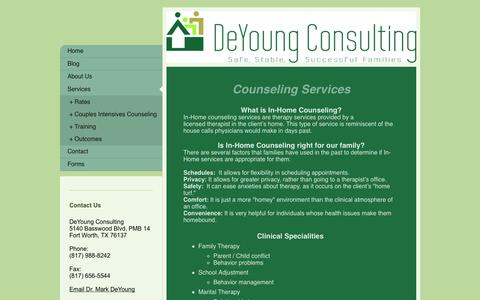 Screenshot of Services Page deyoungconsulting.com - Marriage and Family Counseling - captured Oct. 5, 2014