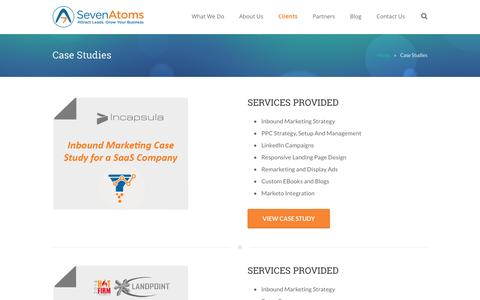 Screenshot of Case Studies Page sevenatoms.com - SEO Case Study, Hubspot Case Studies, PPC Case Study - captured Jan. 13, 2016
