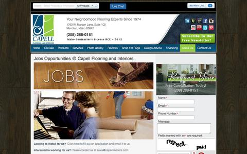 Screenshot of Jobs Page capellinteriors.com - Jobs Opportunities | Capell Flooring and Interiors - captured Oct. 1, 2014
