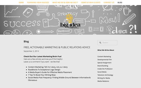 Screenshot of Blog bigideacompany.com - Blog — Big Idea Company - captured Oct. 5, 2014