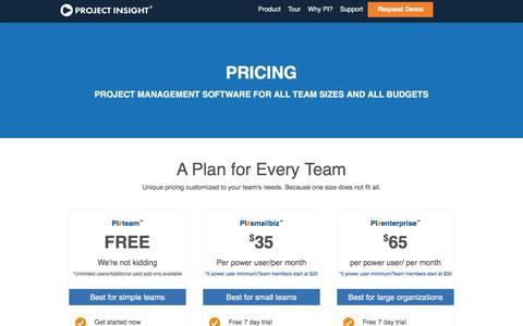 Screenshot of Pricing Page projectinsight.net - Project Management Consulting   PI#pricing - captured Feb. 20, 2018