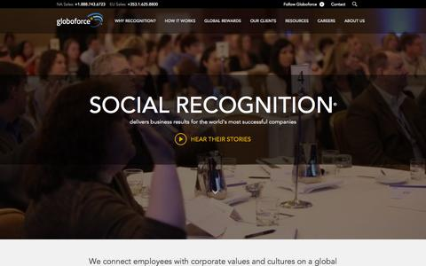 Screenshot of Home Page globoforce.com - Employee Recognition and Rewards | Globoforce - captured Oct. 15, 2015