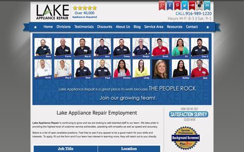 Screenshot of Jobs Page lakeappliancerepair.com - Jobs   Lake Appliance Repair Employment - captured Sept. 27, 2014