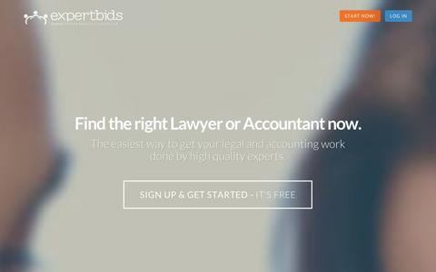 Screenshot of Home Page expertbids.com - Expertbids | Find the right Lawyer or Accountant now - captured Sept. 12, 2014