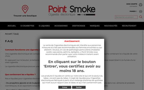 Screenshot of FAQ Page point-smoke.fr - FAQ Point Smoke - captured Oct. 22, 2018