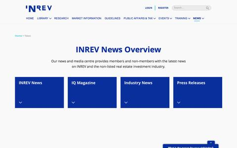Screenshot of Press Page inrev.org - INREV News Overview - captured May 27, 2017