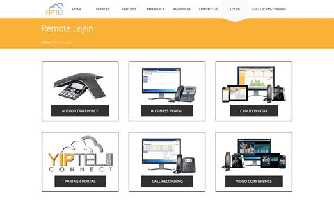 Screenshot of Login Page yiptel.com - Login: Internet Conferences, Phone & Cloud Services | YipTel - captured July 9, 2016