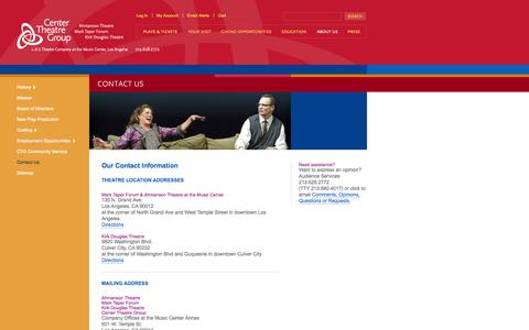 Screenshot of Contact Page centertheatregroup.org - Contact Us | Center Theatre Group - captured Sept. 19, 2014