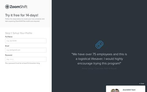 Screenshot of Signup Page zoomshift.com - ZoomShift - captured Dec. 29, 2015