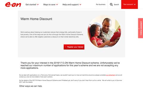 Warm Home Discount | application and eligibility  - E.ON