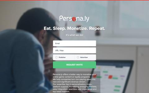 Screenshot of Home Page persona.ly - Persona.ly   Eat. Sleep. Monetize. Repeat. - captured Sept. 23, 2014