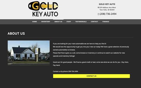 Screenshot of About Page goldkeyautocredit.com - About Gold Key Auto Bad Credit Auto Loans, Used Cars Dealership in Twin Falls, ID 83301 - captured Sept. 29, 2018