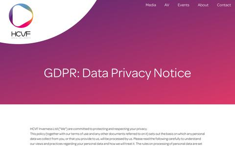 Screenshot of Privacy Page hcvf.co.uk - Privacy Policy · HCVF Inverness - captured Sept. 25, 2018