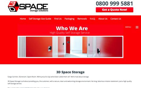 Screenshot of About Page 3dspacestorage.co.uk - Who We Are | 3D Space Storage - captured Feb. 24, 2016