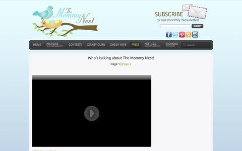 Screenshot of Press Page themommynest.com - The Mommy Nest - Press - captured Nov. 2, 2014