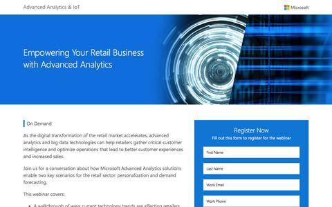 Screenshot of Landing Page microsoft.com - Empowering Your Retail Business with Advanced Analytics  Microsoft - captured Feb. 25, 2017