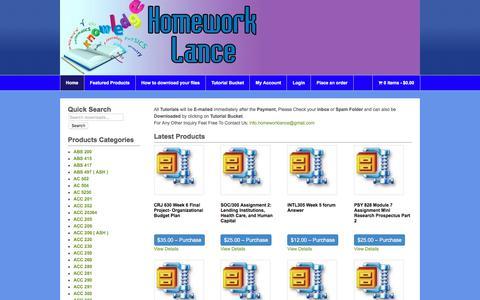 Screenshot of Home Page homeworklance.com - Homework Lance Online Homework Help - captured July 21, 2018