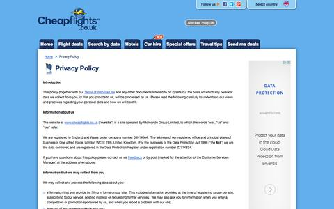 Screenshot of Privacy Page cheapflights.co.uk - Privacy Policy - captured Oct. 29, 2014