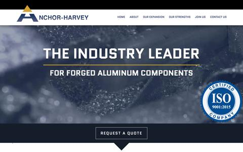 Screenshot of Home Page anchorharvey.com - Aluminum Forgings Company | Top Forgings Manufacturer - AnchorHarvey - captured Oct. 3, 2018