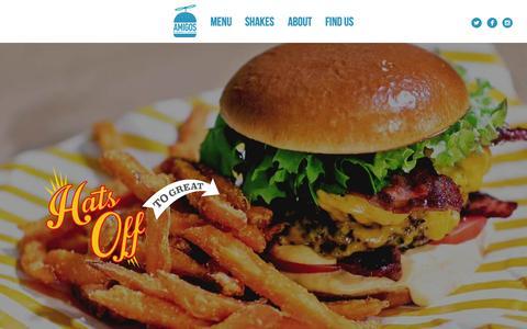 Screenshot of Home Page amigosburgersandshakes.com - Hot new burger restaurant in Sheperd's Bush, West London serving halal burgers, chicken, hot dogs and milkshakes - captured June 19, 2015
