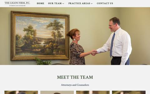 Screenshot of Team Page attorneyligon.com - Meet The Team — The Ligon Firm - captured Sept. 28, 2018