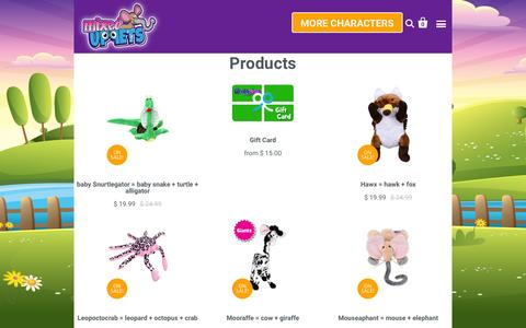 Screenshot of Products Page genetipetz.com - Products | Genetipetz - Mixed Up Stuffed Animals - captured Jan. 27, 2016