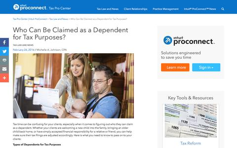Screenshot of Press Page intuit.com - Who Can Be Claimed as a Dependent for Tax Purposes? | Tax Pro Center | Intuit ProConnect - captured Nov. 21, 2019