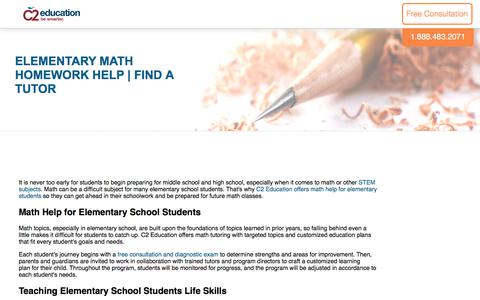 Screenshot of c2educate.com - Elementary Math Homework Help | Find a Tutor - captured July 11, 2017