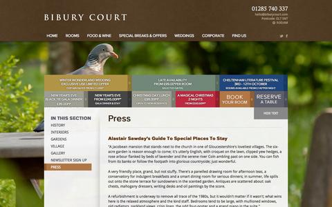 Screenshot of Press Page biburycourt.com - Cotswold hotels | Hotel Cheltenham | Bibury court hotel - captured Oct. 5, 2014