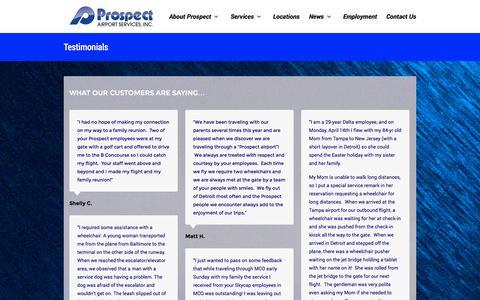 Screenshot of Testimonials Page prospectair.com - Testimonials | Prospect Airport Services - captured Oct. 27, 2014