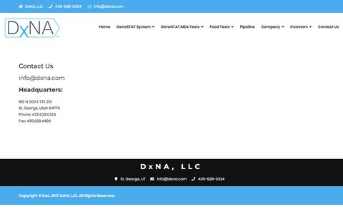 Screenshot of Contact Page dxna.com - Contact Us – DxNA - captured Oct. 9, 2018